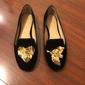 Tory Burch Peace & Love Black & Gold Velvet Flats
